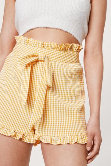 Yellow Petite High Waisted Gingham Print Belted Shorts