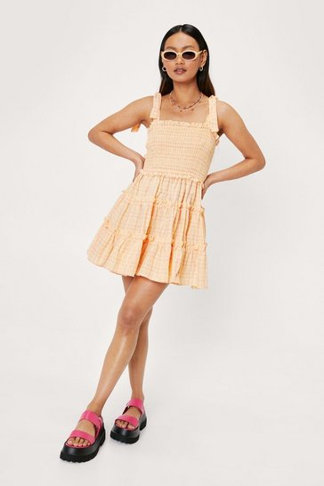 Peach Petite Check Shirred Ruffle Mini Dress