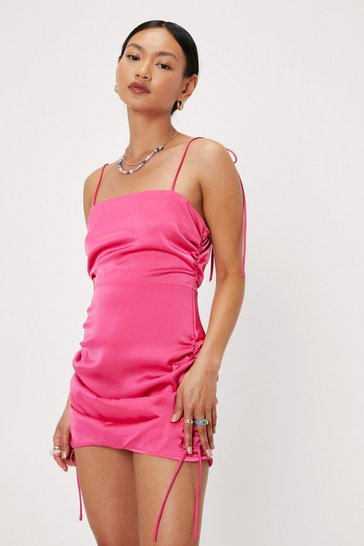 Pink Petite Ruched Side Satin Mini Dress