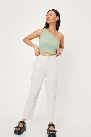 Cream Belted Linen Look Tapered Pants