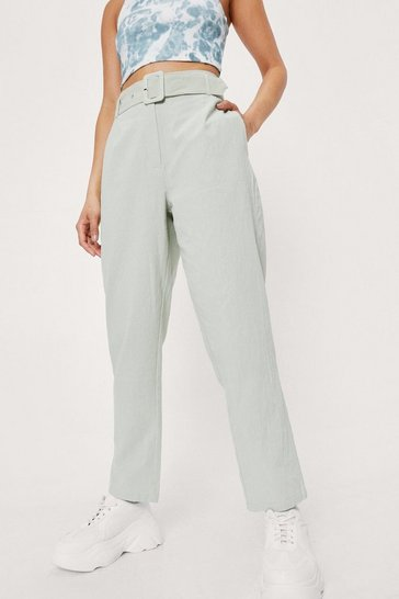 Sage Belted Linen Look Tapered Pants