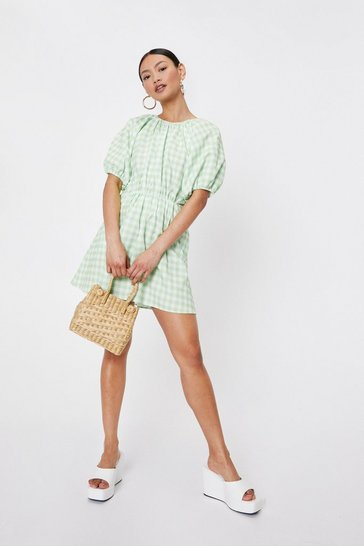 Green Petite Puff Sleeve Gingham Print Mini Dress