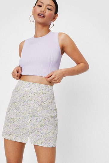 Lilac Petite Button Front Ditsy Floral Print Mini Skirt