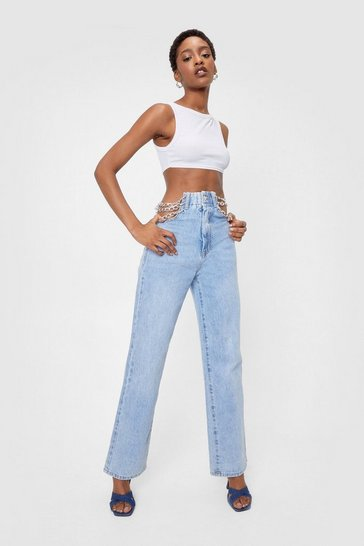 Blue Chain Detail High Waisted Straight Leg Jeans
