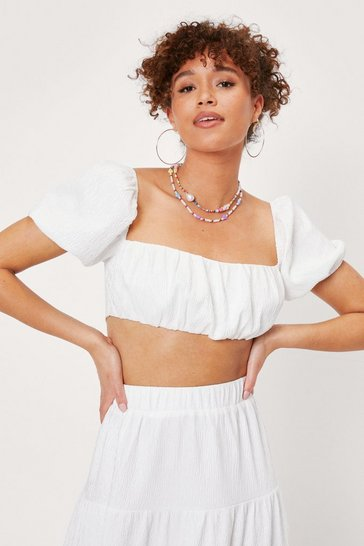 White Textured Puff Sleeve Square Neck Crop Top