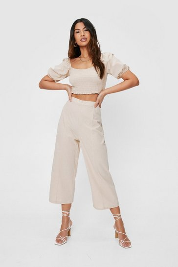 Stone Linen High Waisted Culotte Pants