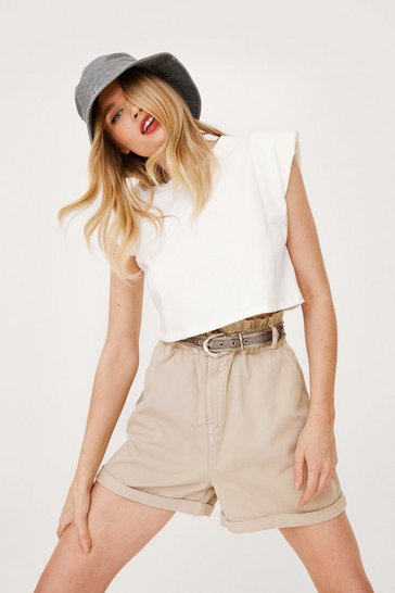 Stone Paperbag Waist Relaxed Turn Up Hem Shorts