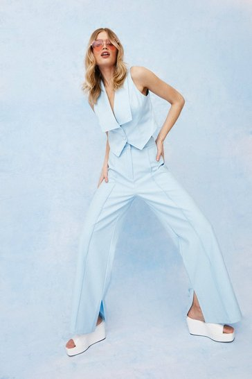 Blue Seam Front Side Split Wide Leg Pants