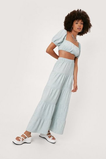 Mint Plisse Tiered High Waisted Maxi Skirt