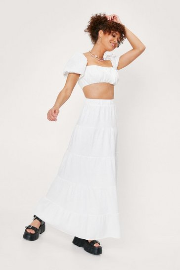 White Plisse Tiered High Waisted Maxi Skirt