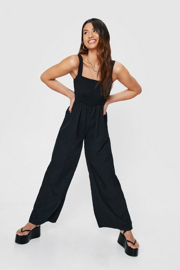 Black Shirred Square Neck Wide Leg Jumpsuit