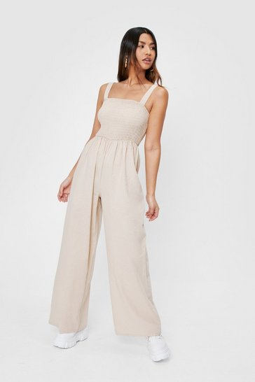 Stone Shirred Square Neck Wide Leg Jumpsuit
