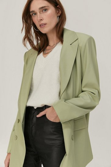 Mint Oversized Shoulder Pad Double Breasted Blazer