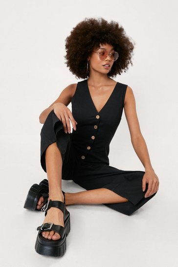 Black Linen Button Down Culotte Jumpsuit
