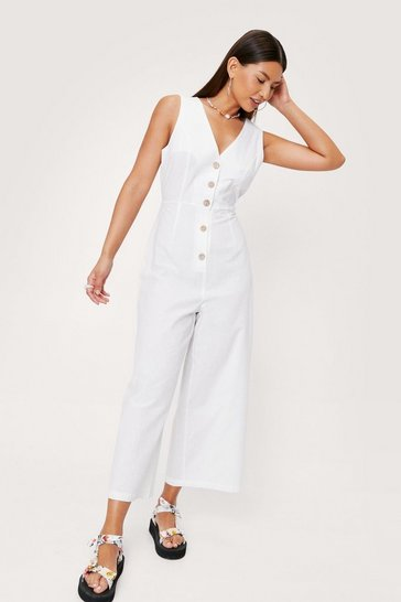 White Linen Button Down Culotte Jumpsuit