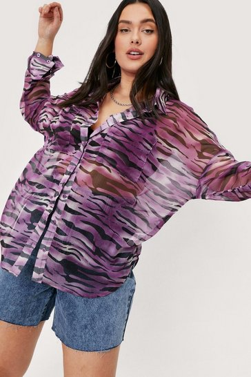 Purple Plus Size Zebra Print Chiffon Oversized Shirt