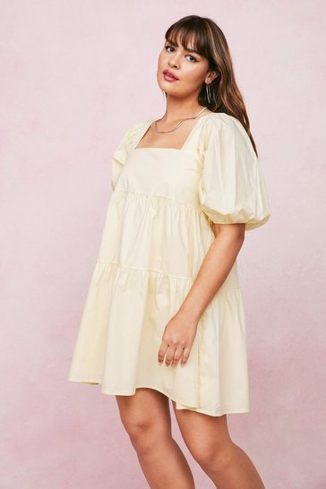 Lemon Plus Size Cotton Square Neck Mini Dress