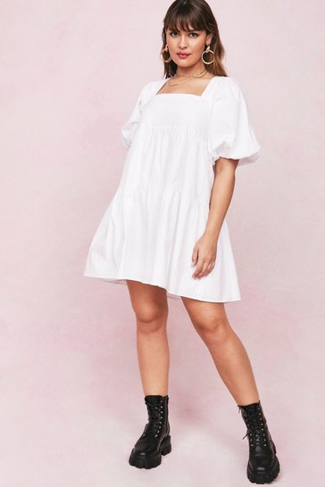 White Plus Size Cotton Square Neck Mini Dress