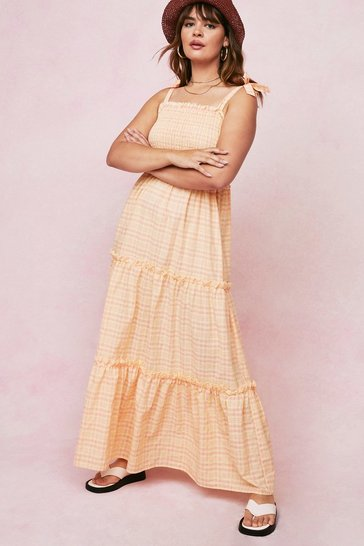 Peach Plus Size Check Tiered Maxi Dress