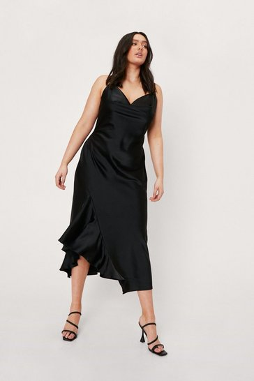 Black Plus Size Satin Cowl Neck Ruffle Midi Dress