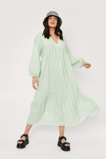 Green Plus Size Gingham Check Midi Smock Dress