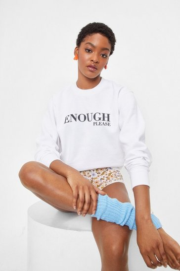 White Enough Please Relaxed Graphic Sweatshirt