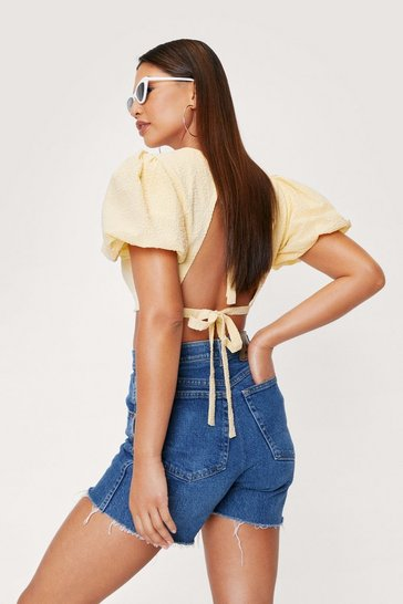 Lemon Textured Puff Sleeve Tie Back Crop Top