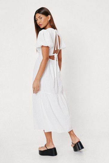 White Textured Puff Sleeve Tie Back Midi Dress