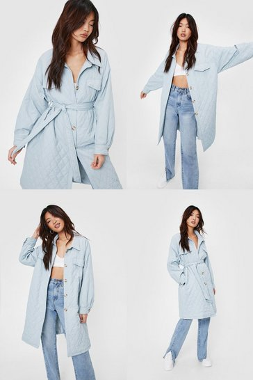 Pale blue Quilted Button Down Longline Belted Coat