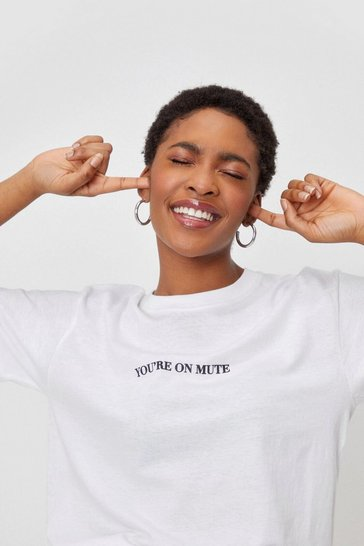 White You're On Mute Relaxed Graphic Tee