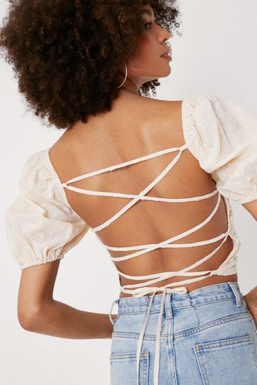 Ecru Lace Up Open Back Spotty Puff Sleeve Crop Top