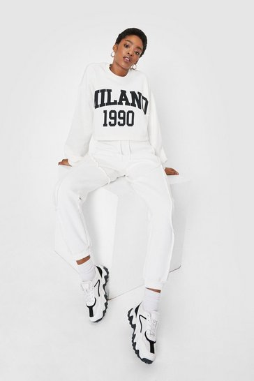 Ecru High Waisted Seam Detail Relaxed Joggers