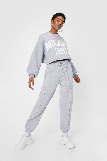 Grey High Waisted Seam Detail Relaxed Joggers
