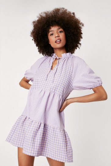 Lilac Gingham Print Tie Smock Mini Dress