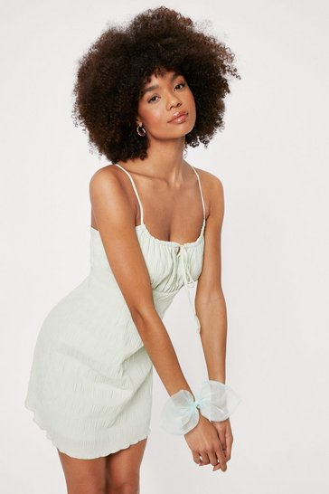 Sage Gingham Texture Strappy Cami Mini Dress