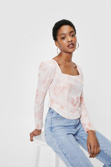 Peach Floral Print Square Neck Corset Blouse