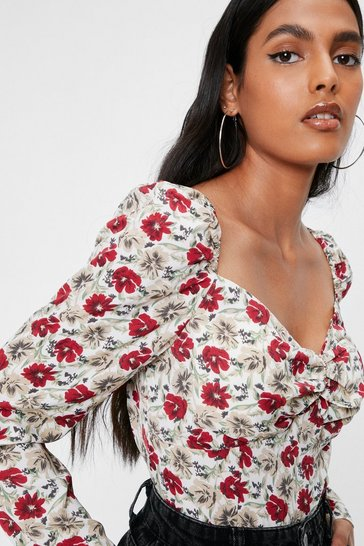Red Floral Print Sweetheart Neckline Puff Sleeve Blouse