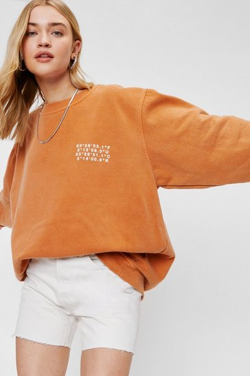 Rust Coordinates Graphic Oversized Washed Sweatshirt