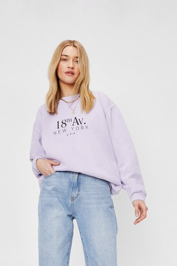 Lilac 18th Avenue New York Graphic Sweatshirt