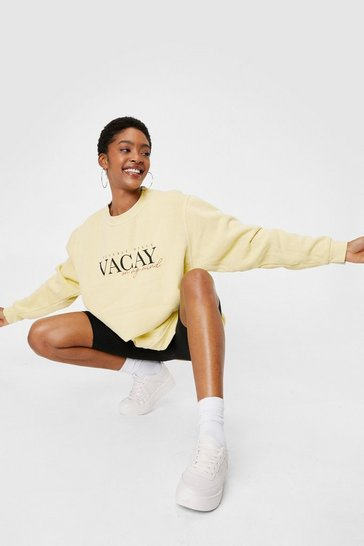 Lemon Vacay On My Mind Oversized Graphic Sweatshirt