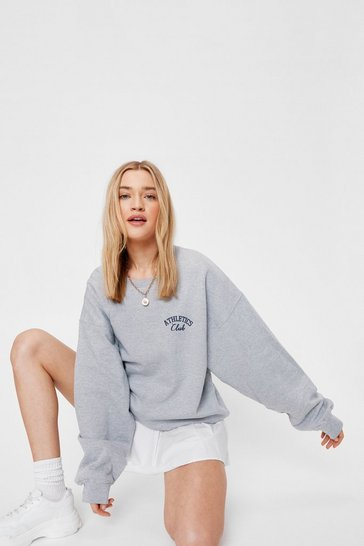 Grey Athletics Club Oversized Graphic Sweatshirt
