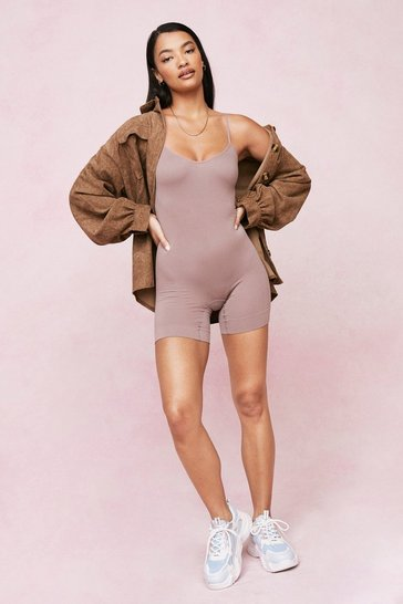 Mocha Ribbed Seamless Scoop Neck Unitard