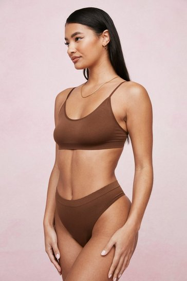 Chestnut Seamless Scoop Neck Strappy Bralette