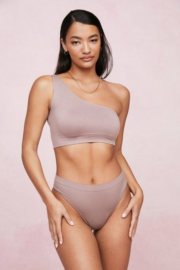 Mocha One Shoulder Seamless Bralette