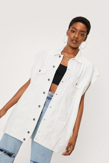 Ecru Oversized Denim Sleeveless Jacket