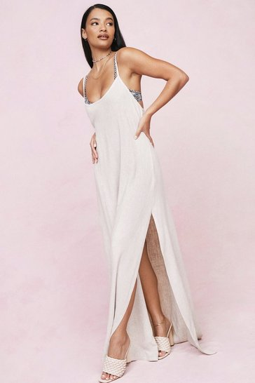 Stone Strappy Relaxed Split Front Maxi Cover Up Dress