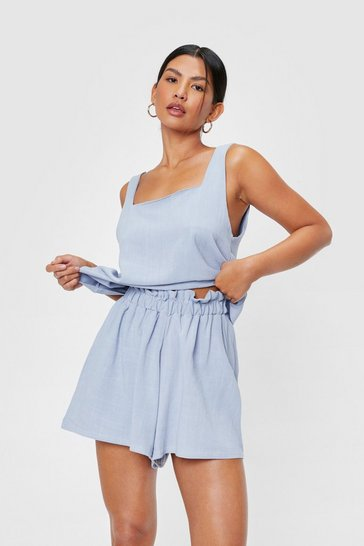 Light blue Crinkle Square Neck Cover Up Top