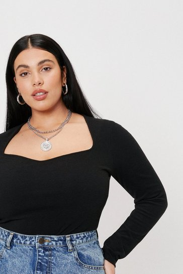 Black Recycled Plus Size Sweetheart Neckline Ribbed Top