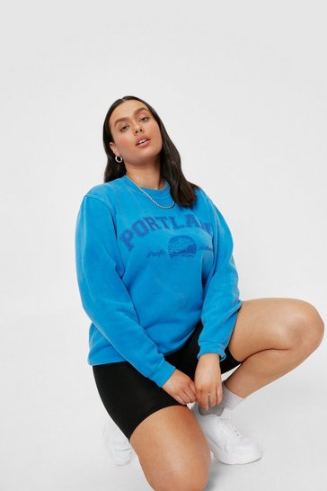 Blue Plus Size Portland Graphic Sweatshirt