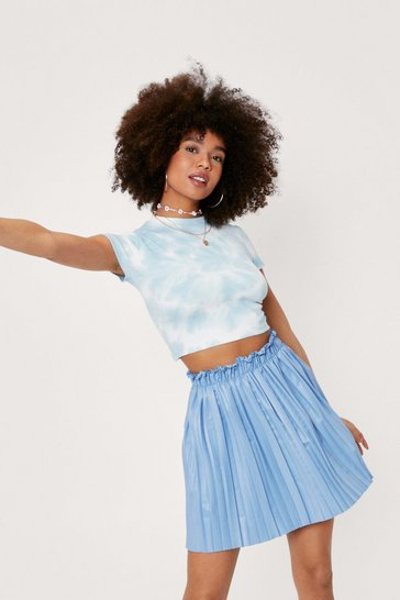Blue Faux Leather Pleated High Waisted Mini Skirt